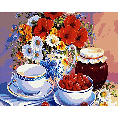 - DIY Oil Painting, Paint by Number Kit for Adult 16 by 20-Inch (Flower Teacup Raspberry)