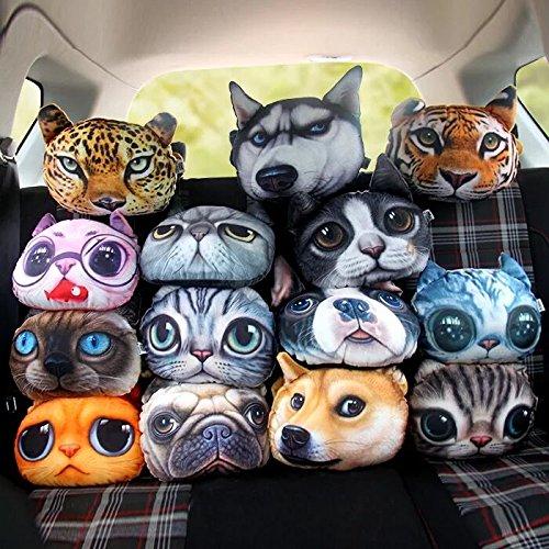 3D Cartoon Animal Car Pillow Car Headrest Travel Pillow Decorative Pillow Headrest Neck Cute Emoji Pillows For Home Office (Schnauzer)