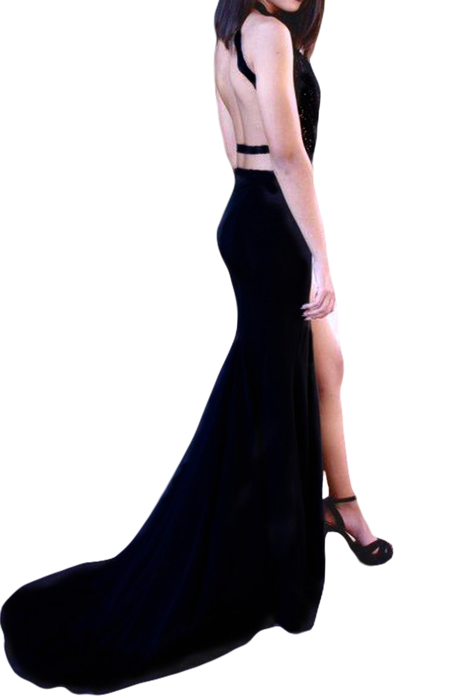 SeasonMall Women's Halter Open Back Spandex With Applique Mermaid Prom Dresses Black Size 6 by SeasonMall