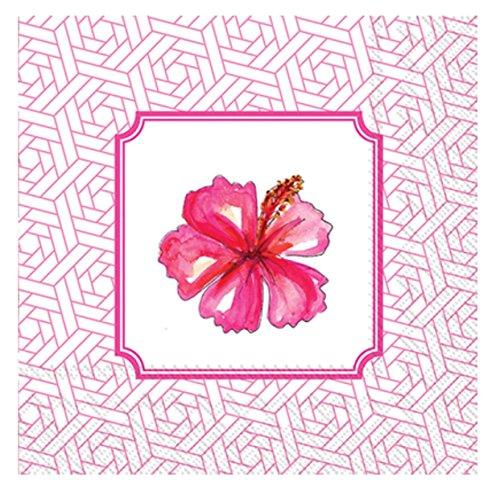 (MesaFina Hibiscus Cocktail Beverage Paper Napkins, Pink, 40 ct)