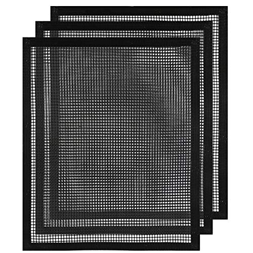 E&g Stainless Steel Mesh Grill - accmor BBQ Grill Mesh Mat with Side, Set of 3 Non-Stick Teflon Cooking Grilling Sheet Liner Fish Vegetable Smoker Grill Mats - Works on Gas, Charcoal, Electric Barbecue 15.75x13inch