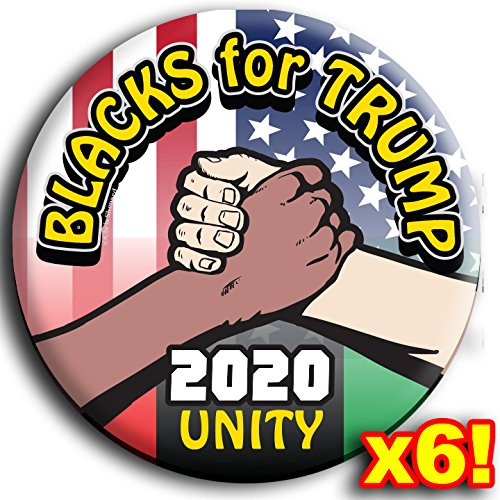 Pinback Button Love (BLACKS FOR TRUMP! 6-PACK RALLY BUTTONS! UNITY 2020! SIX Badges! - Love not Hate - Republican Gop - 2.25 Inch Large PINBACKS)