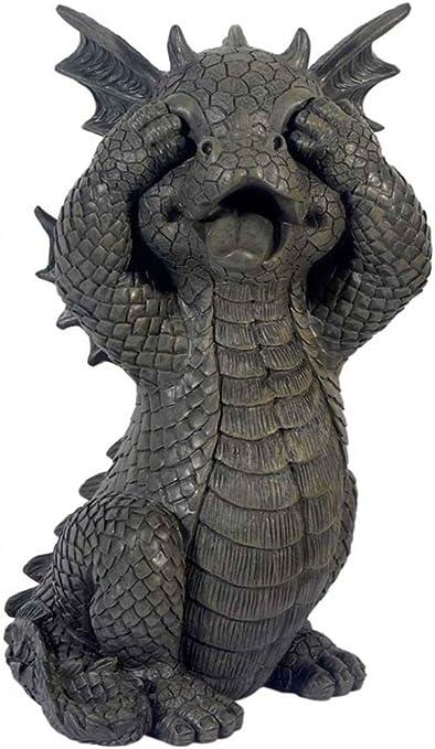 Garden Dragon mantiene los ojos cerrados - MystiCalls - GD-291 - Dragon Deco Figurine: Amazon.es: Jardín