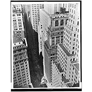 Photo: Bird's-eye view of Wall Street,New York City,NYC,1910-1930,Skyscrapers