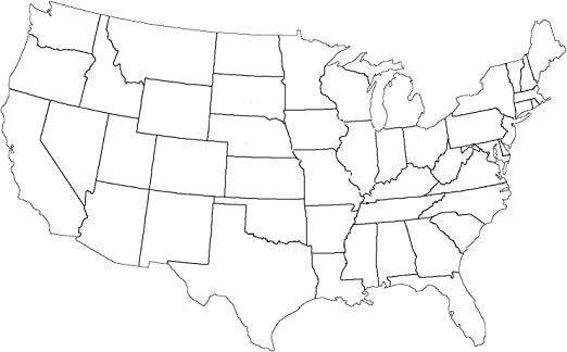 Large Printable Us Map Amazon.com: Map   Large Printable Blank Us Map Outline Worksheet