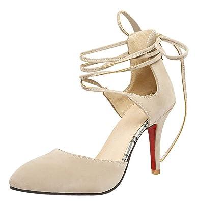 d19a7abd55379a YE Chaussure Escarpin Lacet Femme Bout Pointus Talon Haut Aiguille Sexy:  Amazon.fr: Chaussures et Sacs