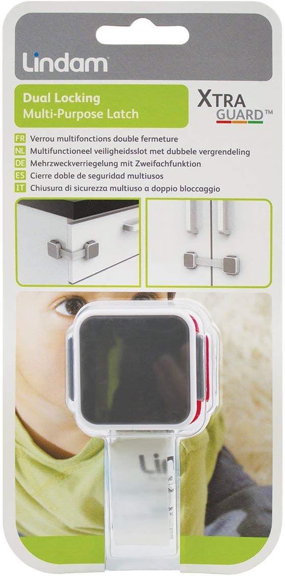 Lindam Xtra Guard doble mecanismo de bloqueo Multi Purpose Latch Talla:Paquete de 2
