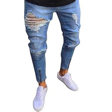 6aee452f22121 QinMM Homme Jeans Skinny Trou Classique Zipper Biker Moto Droit Maigre,  Mode Motard Détruit Effiloché
