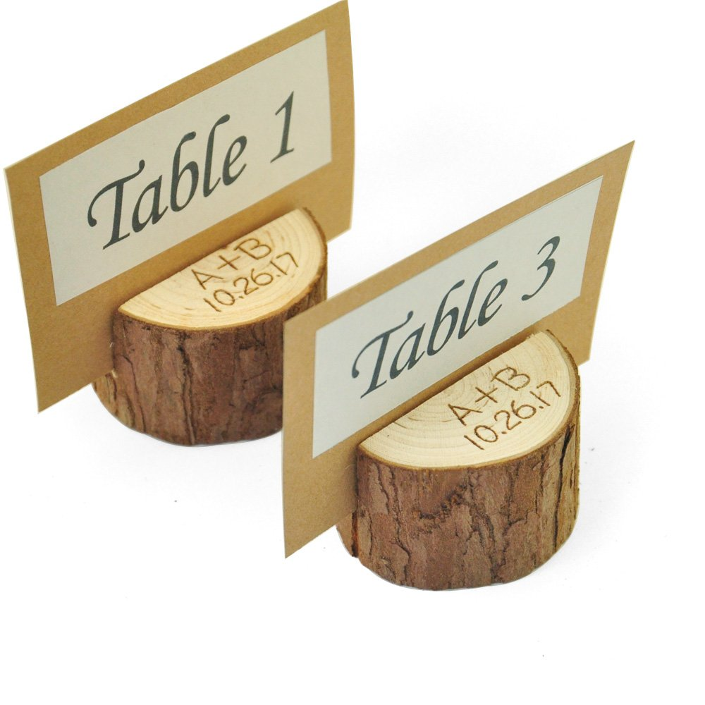 Set of 10 Personalized Wood Table Number Holder,Table Number 1-10 Holder,Wedding place card holder,Rustic table Party decor