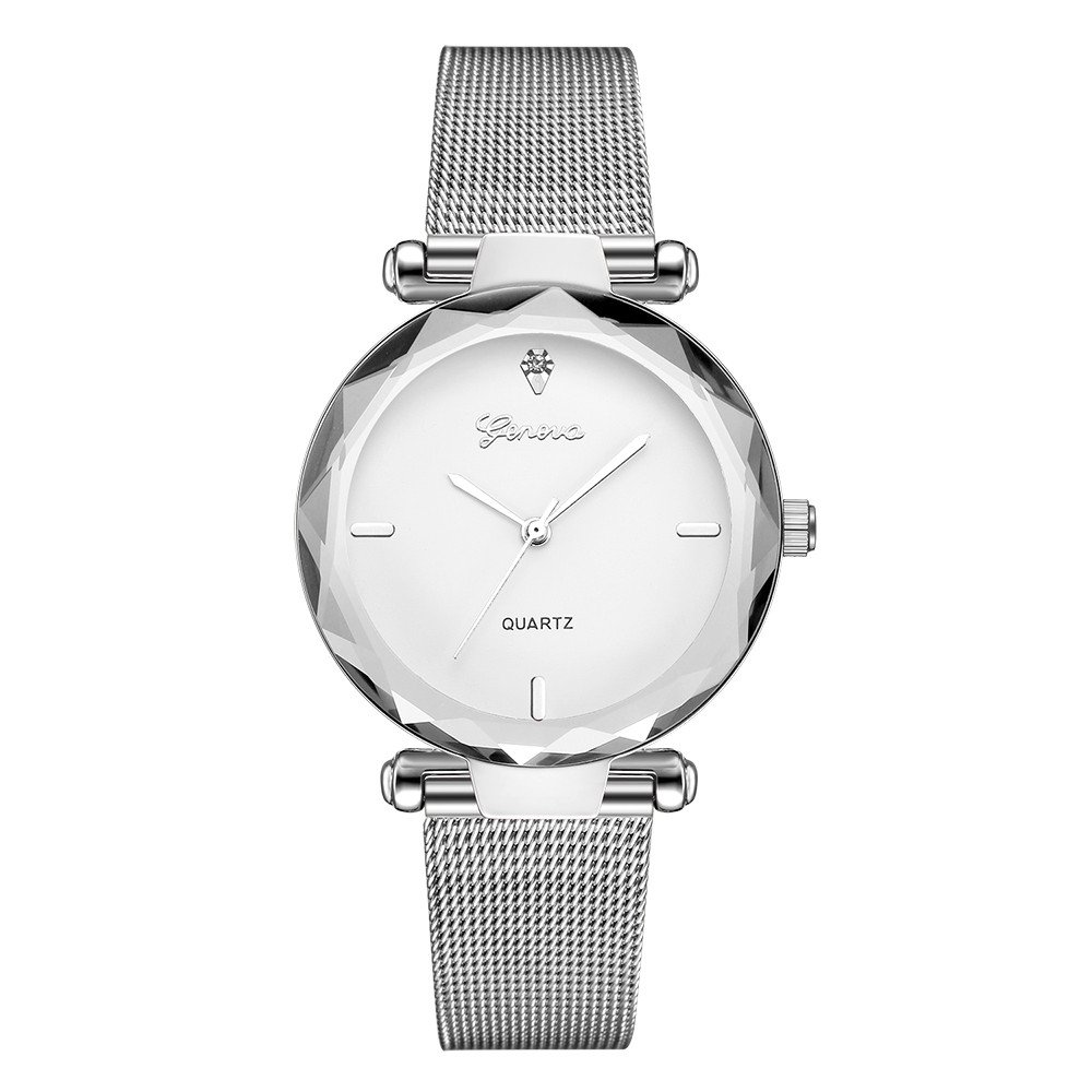 Starry Sky Watch for Women, Crystal Dial Analog Quartz Wristwtach with Buckle Mesh Steel Band Bravetoshop R6209(G)