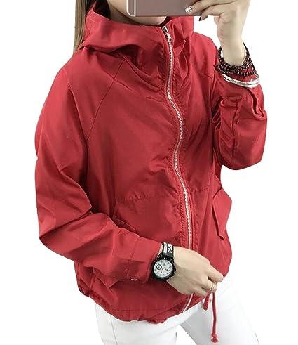 f9a91036e Oberora-Women Lightweight Zip-Up Hooded Bomber Jacket Trench Coat ...