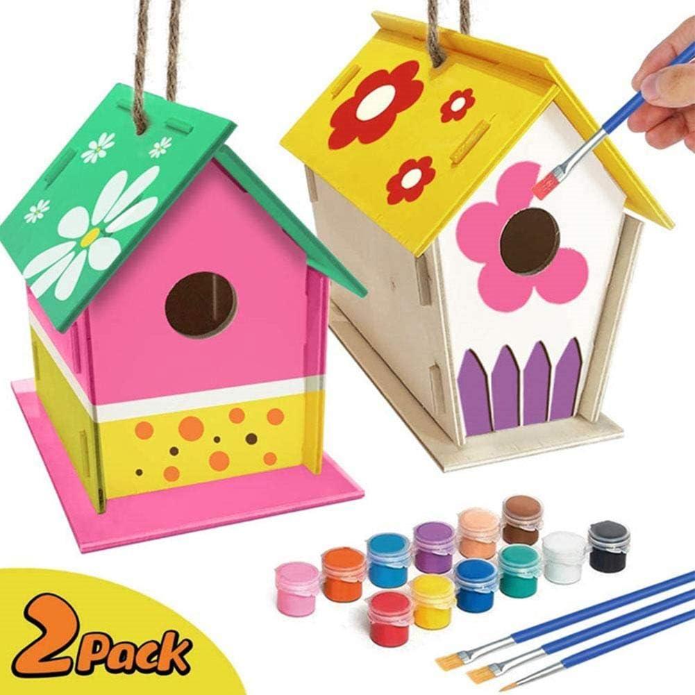 Kit De Bricolaje Bird House, 2 Kits De Mini Casita De Madera para Pájaros, para Casitas De Pájaros para Que Los Niños Puedan Pintar Y Decorar para Niños Artes Y Manualidades Proyectos