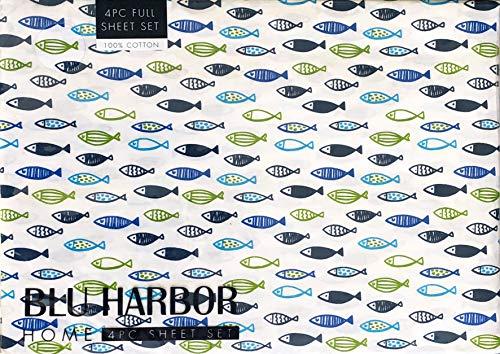 Blu Harbor 4 Pc Cotton Sheet Set Geometric Fish Pattern Ocean Sea Life in Shades of Blue Black Green on White (Full) ()