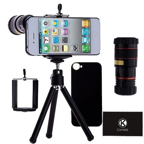 Lente de cámara para iPhone 4 y 4S, 8 Lentes de teleobjetivo, Mini trípode