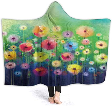 40x50 Inch Wele Blanket Poncho Abstract Floral Watercolor Painting Hand Paint Yellow And Red Flowers In Soft Color Wele Hooded Amazon Co Uk Kitchen Home