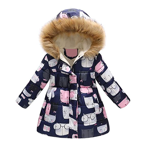 OMSLIFE 2018 neu Daunenjacke Kinder Winterjacke mit Kapuze Daunenmantel Lang Mädchen Hübsch bedruckter Kapuzenmantel für Kinder Warm Jacke