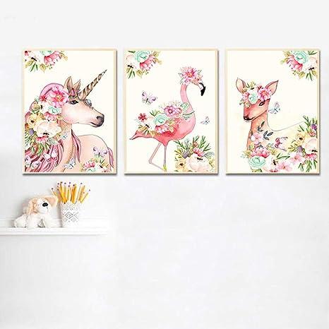 Flor Unicornio Flamingo Cartel de la Lona Wall Art Nursery ...
