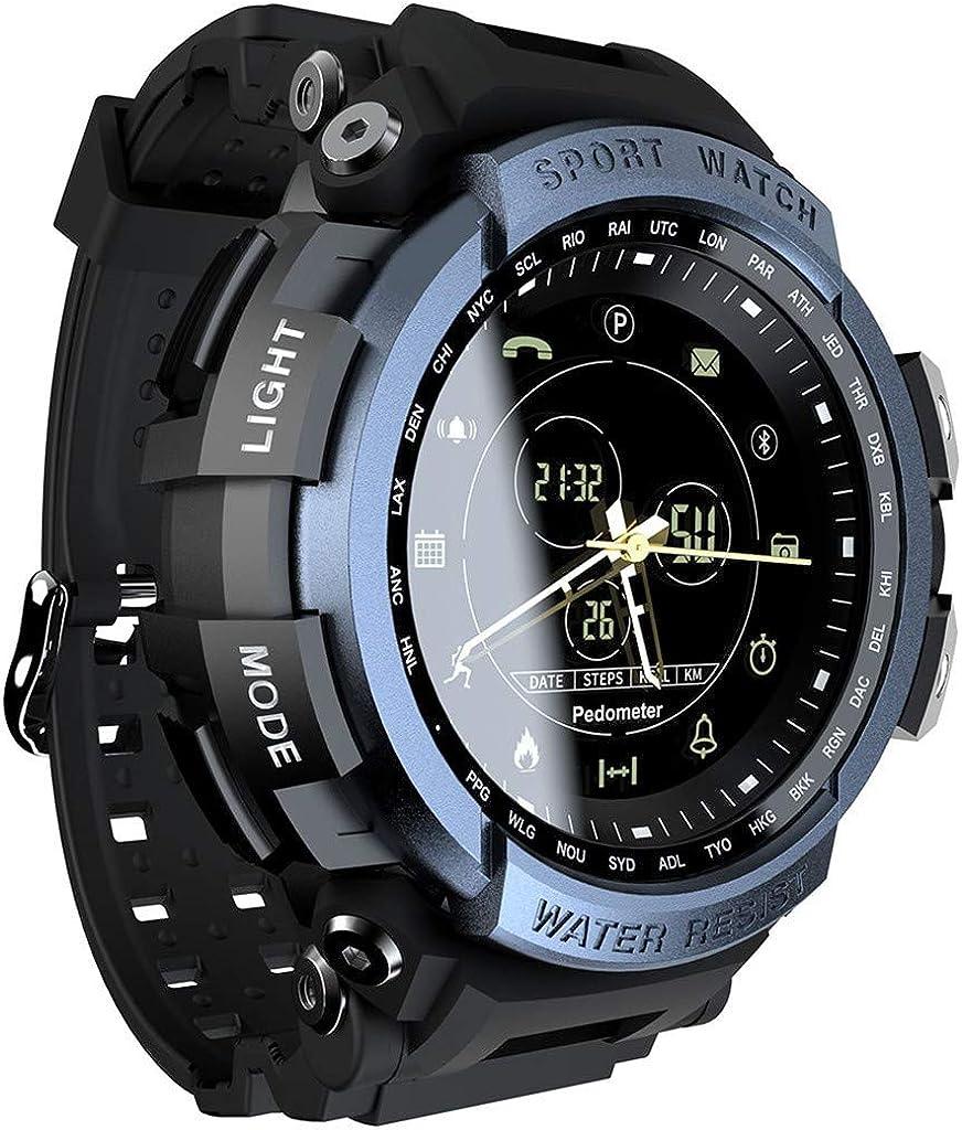 Cebbay - Reloj inteligente de Deporte Mk28 Reloj Digital para Hombre Reloj Inteligente para iOS y Android Profesional 5Atm Impermeable Bluetooth Recordatorio de Llamada - Azul