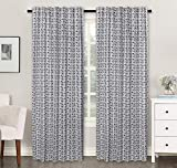 Ramanta Home Cotton Textured Window Curtain Panel Printed in Multi Box Design for Bedroom & Living Room - 2 Pack Multi 50x84 - Farmhouse Look Tab Top Curtains