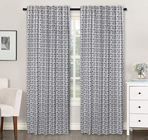 (Ramanta Home Cotton Textured Window Curtain Panel Printed in Multi Box Design for Bedroom & Living Room - 2 Pack Multi 50x84 - Farmhouse Look Tab Top Curtains)