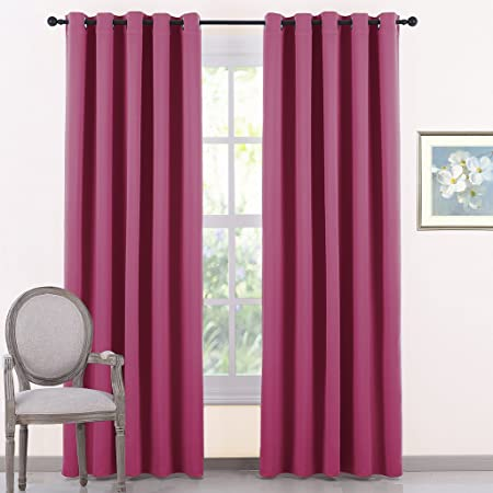 PONYDANCE Thermal Insulated Eyelet Blackout Curtains Premium Solid Light Blocking Curtain Drapes Room Darkening Energy Saving