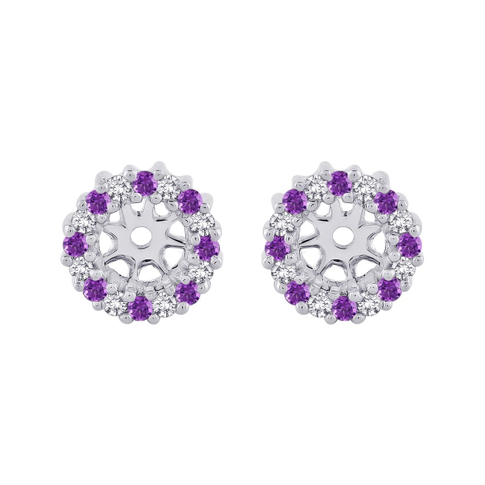 Amethyst Floral Earring Jackets in 14K White Gold (1/4 cttw) (Color JK, Clarity I2-I3)