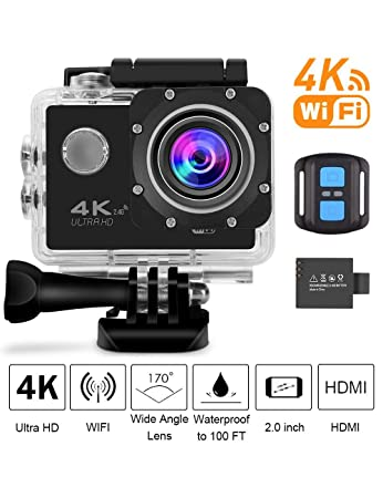 Vortex 4K Sports Action Camera WiFi with Remote Waterproof Case 2 quot; LCD HD 1080P Video Extreme Underwater Sport Cam Helmet Digital Camcorder for B
