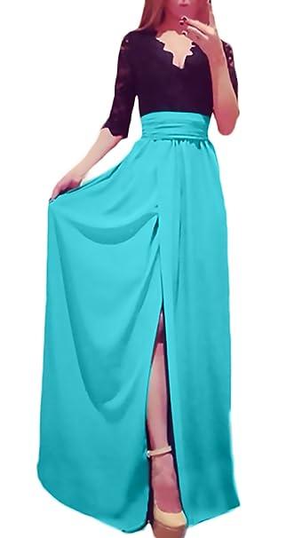 Saoye Fashion Vestidos De Fiesta Largos De Noche Verano Elegantes Vintage Encaje Patchwork Vestidos Coctel Media