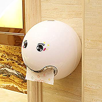 Roll Paper Holders, Cute Emoji Shaped Tissue Dispenser Waterproof Wall  Mounted with Face Sticker for Bathroom Toilet, Screw Fixed(white)