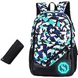 JiaYou Boy Girl Unisex 20L Fashion School Bag Backpack Bookbag with Florescent Mark 2/3 Sets OR Ball Net Single