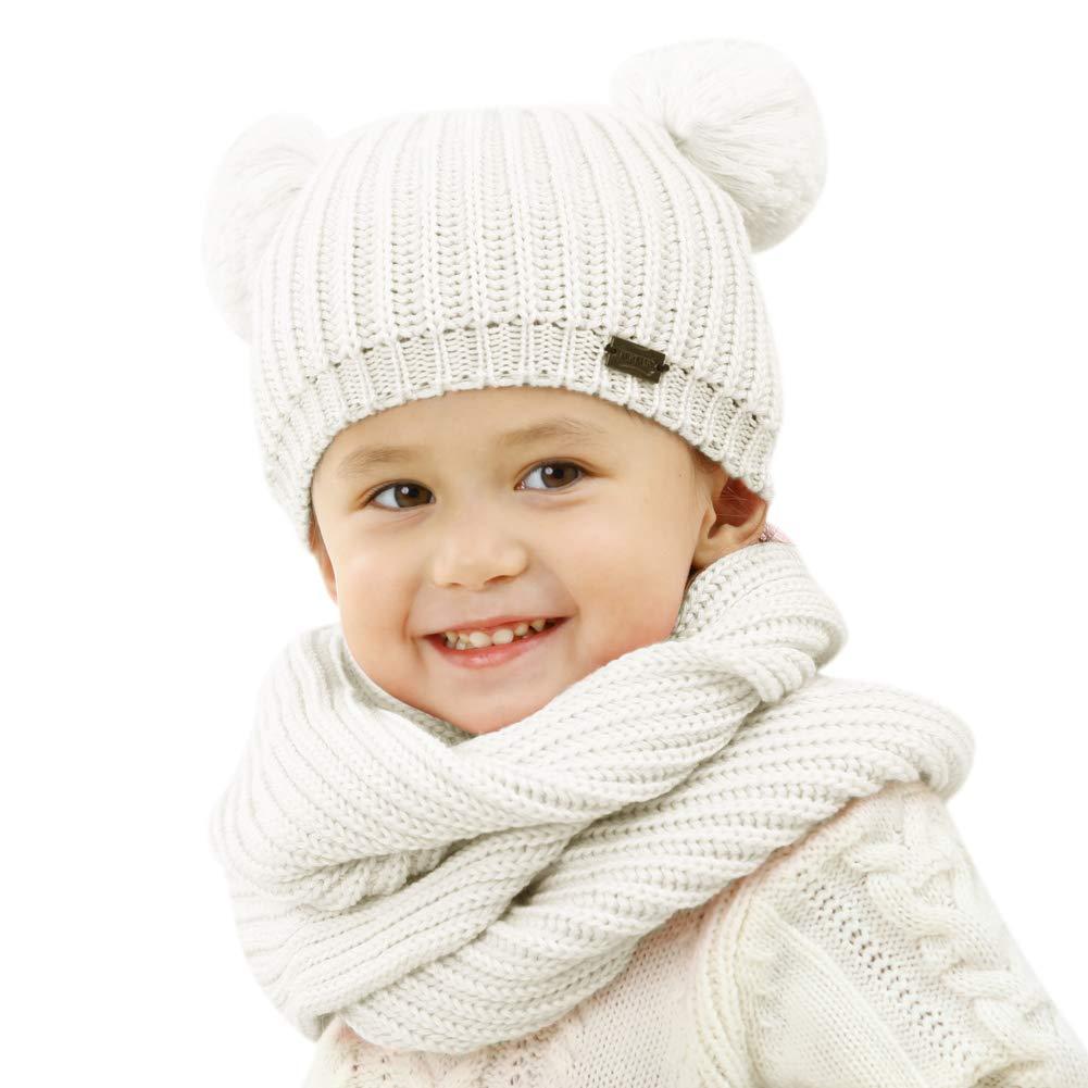 1c90c4839c4 FURTALK Kids Winter Pom Pom Hat -Soft Warm Beanie Knit Hats Scarf Set for  Baby Toddler Children Original (Age 1-5 Years)