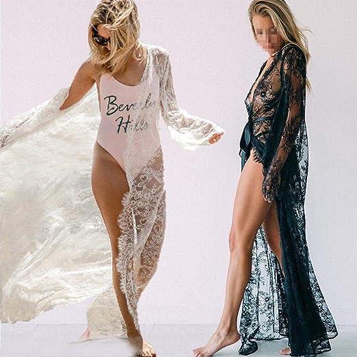 da43645478 Summer Women Swimsuit Bikini Cover Up Sexy Beach Cover Ups Lace Floral  Kimono Long Blouse Elegant