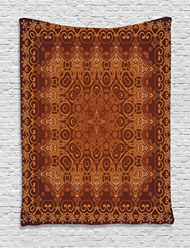 Ambesonne Antique Tapestry Decor, Vintage Lacy Persian Arabic Pattern from Ottoman Empire Palace Carpet Style Artprint, Bedroom Living Room Dorm Wall Hanging Tapestry, Orange Brown by Ambesonne