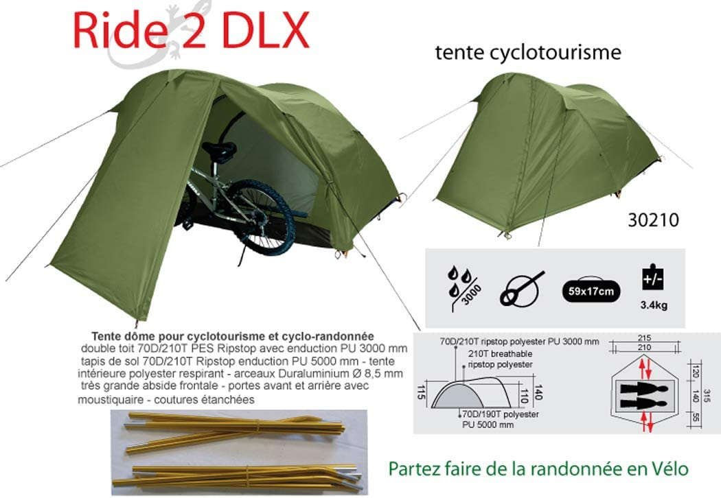 Freetime Ride 2 DLX tent voor cyclo camping, fietstocht, MTB