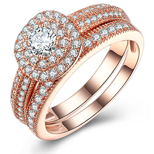 - Vibrille Sterling Silver and Rose Gold Tone Vintage Multi-Row Engagement Wedding Band Ring Sets for Women Size 7