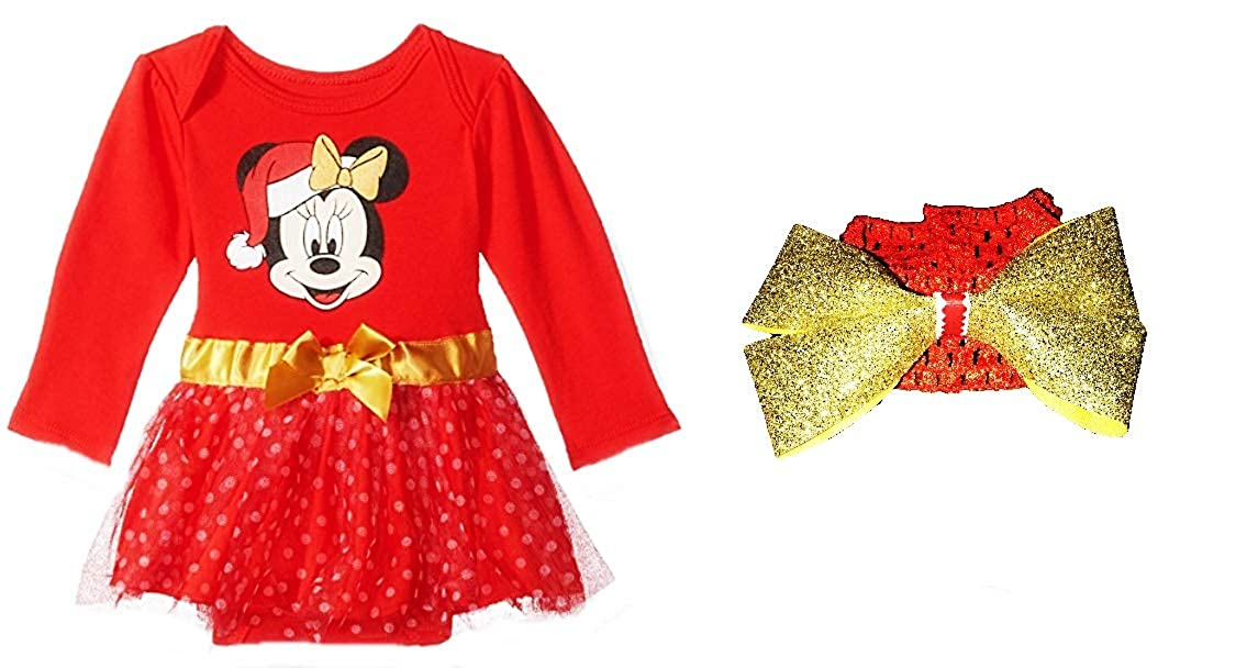 Minnie Mouse Christmas Dress.Amazon Com Baby Girls Minnie Mouse Holiday Dress With Tutu