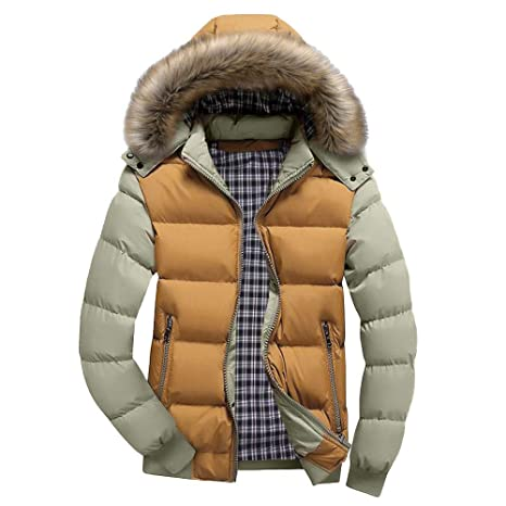 Amazon.com: Mens Winter Thicken Faux Fur Coat Down Puffer ...