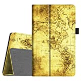 Fintie Folio Case for All-New Amazon Fire HD 8 (6th Generation, 2016 release), Slim Fit Premium Vegan Leather Standing Cover Auto Wake/Sleep for Fire HD 8 Tablet (2016 6th Gen Only), Ancient Map