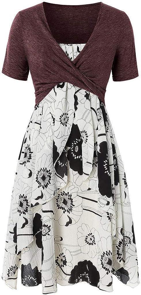 POTO Dresses for Women Casual Summer Short Sleeve Bow Knot Bandage Cover Up Tops Print Mini Dress Beach Sundresses