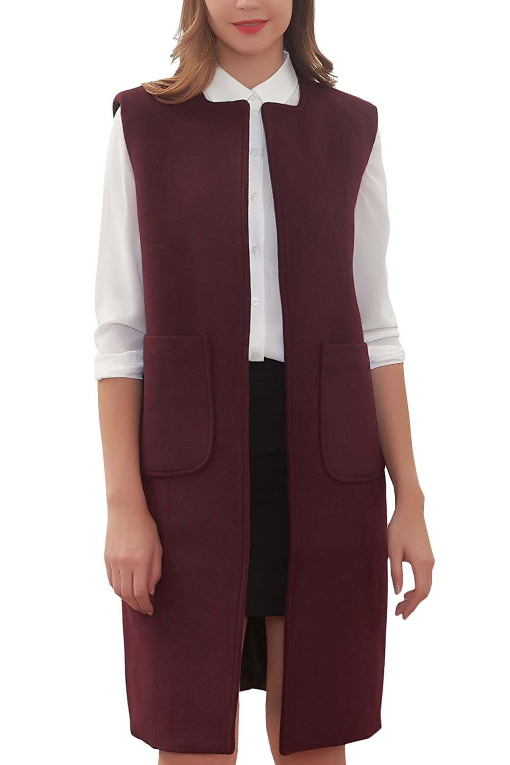 Hanayome Women's Long Jacket Trench Lapel Woolen Coat Sleeveless Dress Vest Coat MI28-A1
