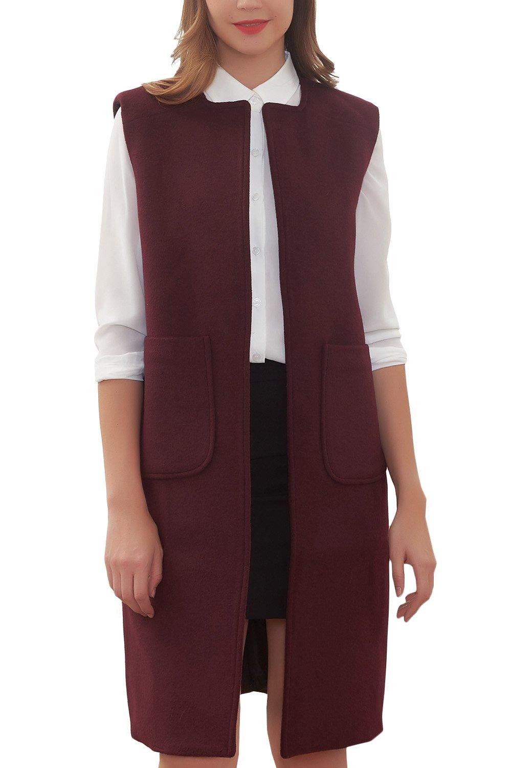 Hanayome Women's Long Jacket Trench Lapel Woolen Coat Sleeveless Dress Vest Coat MI28 (Red, 16W)