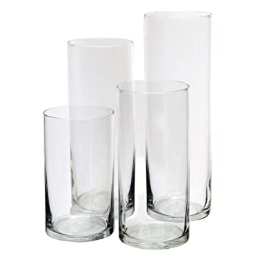 Royal Imports Glass Cylinder Vases Set of 4 Decorative Centerpieces for Home or Wedding