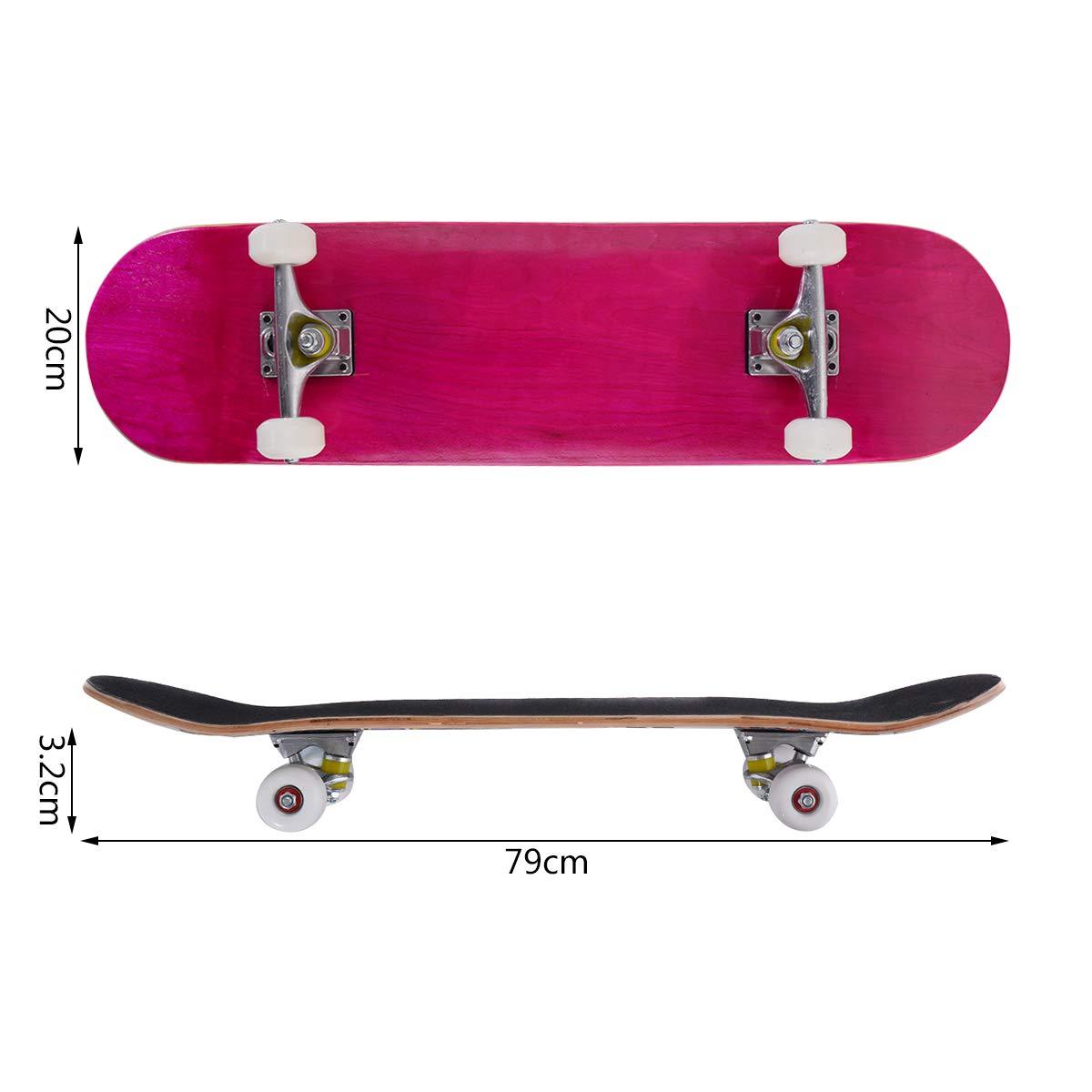 COSTWAY Skateboard Planche /à roulettes en Bois dErable pour Les Enfants Bleu Jeunes et Adultes/79x20cm