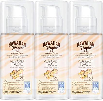 Hawaiian Tropic - Silk Hydration Air Soft Face - Loción de Crema Solar Facial Protectora para el Rostro SPF 30, Crema Hidratante Facial con Protección, Pack de 3, 50 ml.: Amazon.es: Belleza