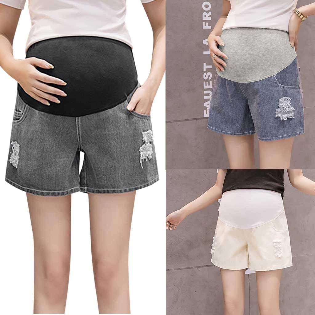 ZEZKT Damen Umstandshose kurz Schwangerschaftshose Baumwolle Kurze Hose Gem/ütlich Schwangere Frauen Mutterschaft Schwangere Shorts Hosen Schwangerschaft Feste Beil/äufige Hohe Taille Hosen