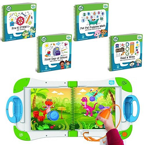 LeapFrog LeapStart Preschool, Pre-Kindergarten Interactive Learning System For Kids Level 2 Ages 2-4 With Junior Activity Books: STEM, Math, Read & Write & First Day School Fun Activity Bundle by LeapFrog