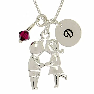 Amazon personalized boy girl kissing sterling silver pendant personalized boy girl kissing sterling silver pendant initial birthstone custom necklace 16 aloadofball Images