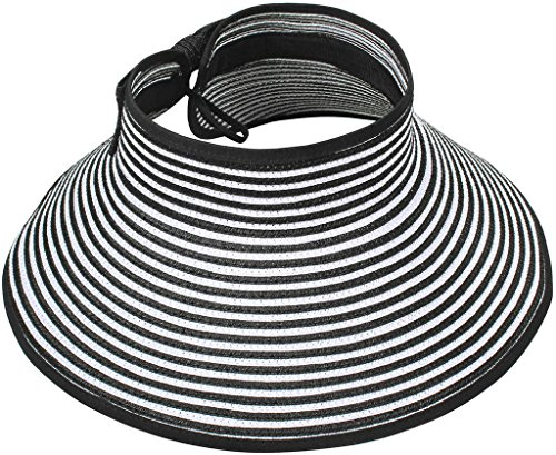 Women's Roll up Wide Brim Striped Straw Hat Visor with Bow,Black/White