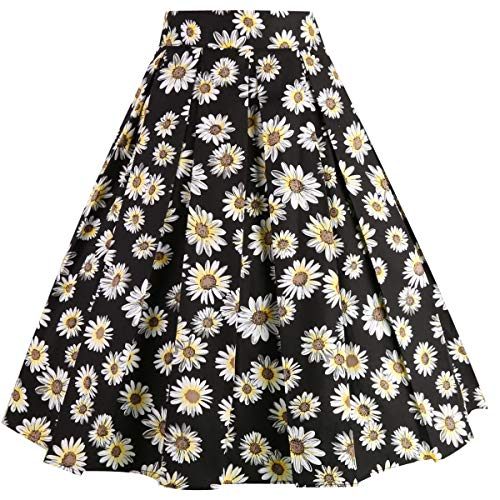 Daisy Dance - Girstunm Women's Pleated Vintage Skirt Floral Print A-line Midi Skirts with Pockets Black-Daisy XX-Large