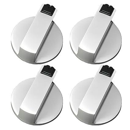 4 Piezas Botón del Horno de Cocina, Gosear universal metal interruptor giratorio perillas de control accesorios de reemplazo para cocina estufa de gas ...